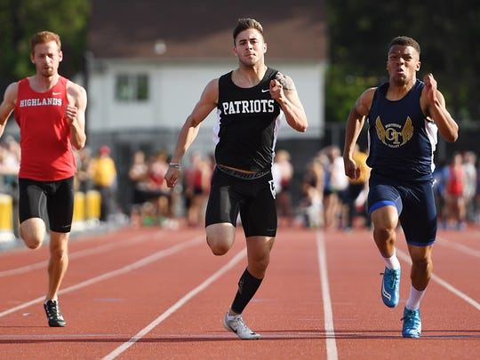 Boys and girls track and field championship at River Dell High School on Friday, May 26, 2017. (center) Hunter Hayek, of Wayne Hills, competes in the 100M.