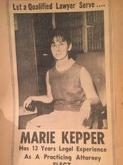 Marie Kepper's newspaper ad seeking election for Forrest