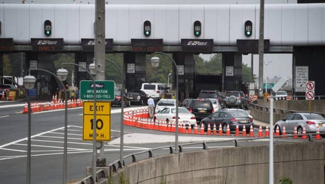 The backup in traffic at the George Washington Bridge tollbooths in Fort Lee on Sept. 12, 2013.