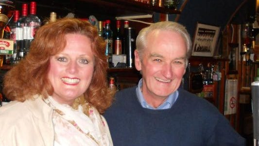 With cousin Tommy Creegan in his pub in Cloone.