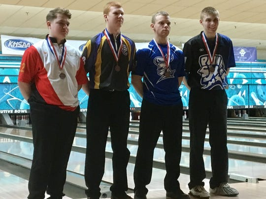 Campbell County's Cameron Bechtol, second from left, finished 7th, and Simon Kenton's Jonathan Cummins, far right, was fifth, during the KHSAA state singles bowling tournament Feb. 8, 2018 at Executive Strikes & Spares, Louisville, KY.