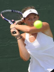 San Antonio's Sydney Fitch returns a shot against San Antonio's Fiona Crawley in their Girls' 18 Singles final at the USTA Texas Slam on Friday, June 15, 2018. Crawley won 7-5, 6-3 for her second straight Texas Slam title, both against Fitch, at ACU's Eager Tennis Center.