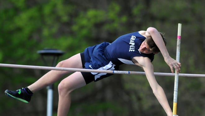 Granville's Issac Cramer competes in the pole vault this past Friday during the Fulton Relays at Lancaster.