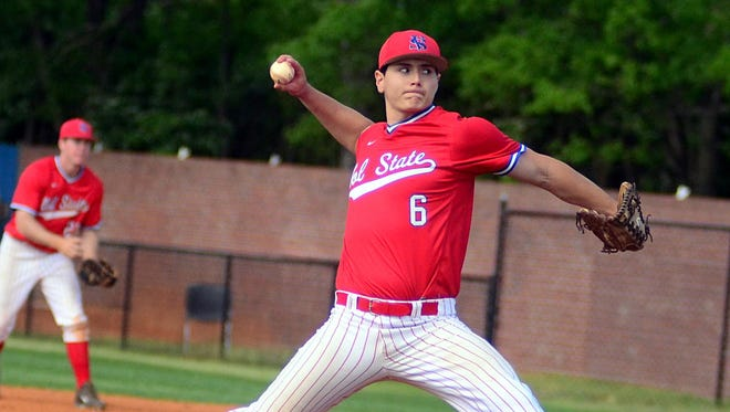 Volunteer State Community College redshirt freshman Carter Bair delivers a pitch during fifth-inning action.
