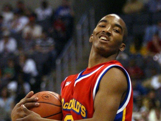 Lakewood native J.R. Smith reacts to a call in the second half of McDonald's All-American game on March 31, 2004, in Oklahoma City. Smith had a game-high 25 points to lead the East to a 126-96 win over the West.