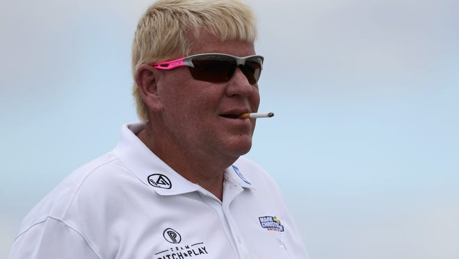 John Daly waits to tee off on the 10th tee during Round 2 of the Senior PGA Championship at Trump National Golf Club on May 26, 2017 in Sterling, Va.