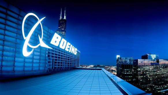 This file photo shows the logo sign atop the Boeing's
