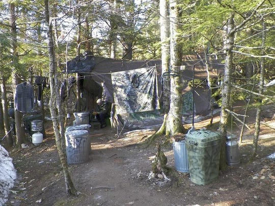 Christopher Knight at his Maine campsite.
