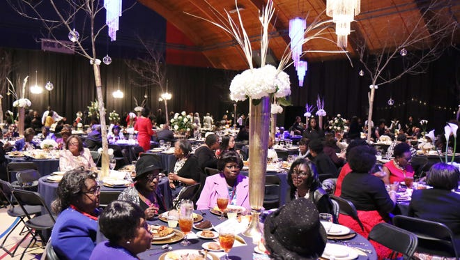 Attendees sit and eat at Lane College's 2017 Founder's Day Celebration and Scholarship Gala Sunday.