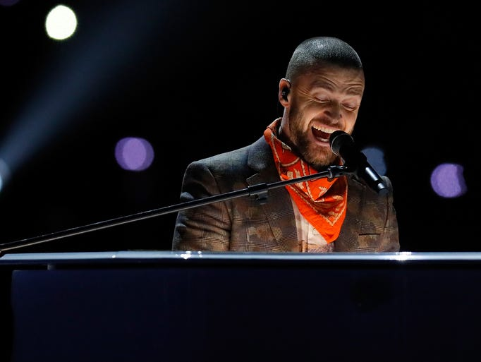 Justin Timberlake performs during the Pepsi Super Bowl