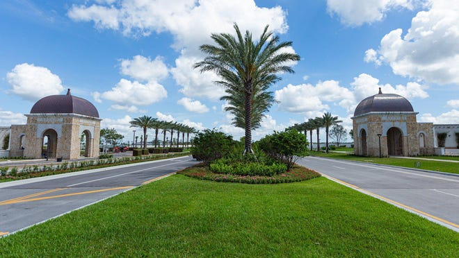 A new 18-hole golf course designed by Jack Nicklaus is planned for the massive Avenir development on western Northlake Boulevard. The course will be part of the private Panther National Golf Club. Pictured is the entrance to Avenir.