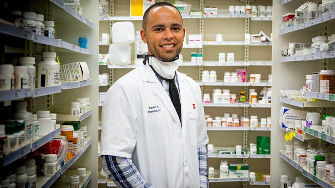 Danny Bautista, Pharmacy Manager at the Walgreens in Delray Beach at the corner of Linton Blvd. and  Jog Road, Monday, June 1, 2020.