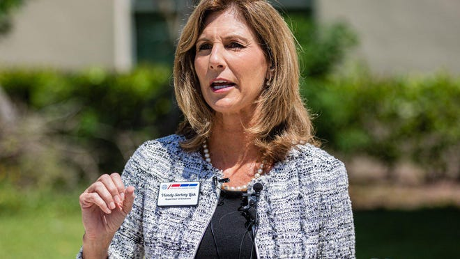 Palm Beach County Supervisor of Elections Wendy Sartory Link speaks Tuesday at a press conference outside her offices near West Palm Beach. Link ran the election and had a commanding lead over her lone opponent, Paulette Armstead.