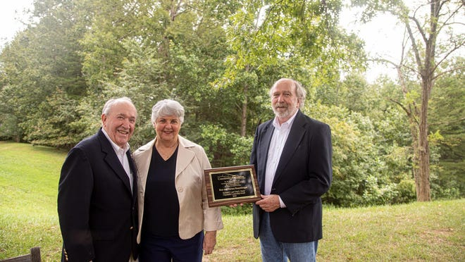 Sauer Charitable Leadership Award recipients Ron and Norma Rosenberger are shown with Community Foundation Board Member and Recognition Committee Chair Stan Duncan. PROVIDED PHOTO]
