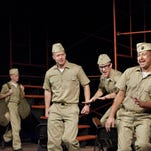 """Auggie Hernandez, right, Michael Seitz, Vernon Spence, Clinton Dodson and Raymond Cothran rehearse Visalia Players' production of """"Dogfight"""" at the Ice House Theatre."""