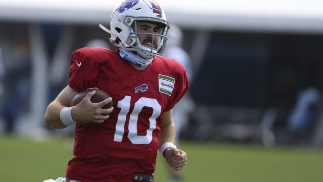 """Rookie quarterback Jake Fromm didn't get any offseason reps and had a crash course in the Buffalo offense during camp but the coaches kept him on the roster anyway. """"You don't want to give up on that position this early,"""" said GM Brandon Beane."""