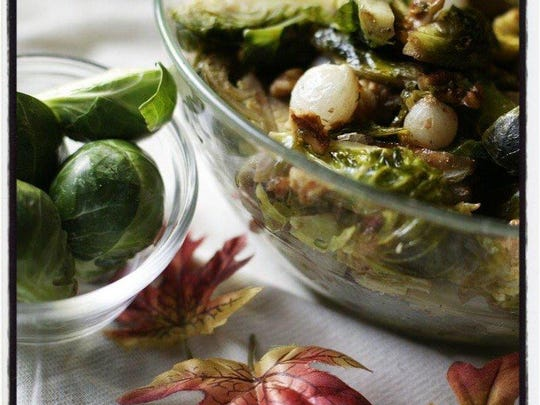 Brussels Sprouts with Caramelized Pearl Onions and Maple Syrup