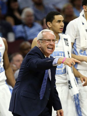 North Carolina Tar Heels head coach Roy Williams reacts to a play against the Indiana Hoosiers during the first half in a semifinal game in the East regional of the NCAA Tournament at Wells Fargo Center.