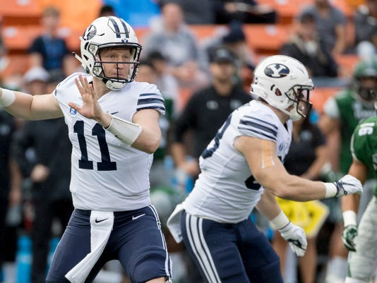 BYU quarterback Joe Critchlow (11) throw a pass in the first quarter of an NCAA college football game against Hawaii, Saturday, Nov. 25, 2017, in Honolulu. (AP Photo/Eugene Tanner)