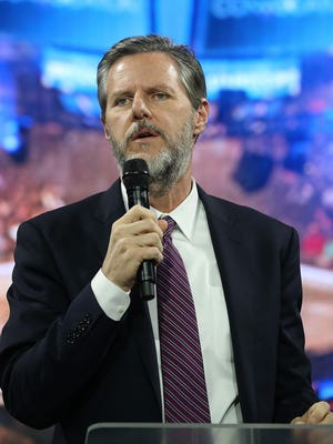 LYNCHBURG, VA - NOVEMBER 11: Dr. Jerry Falwell (L), President of Liberty University introduces US Republican President candidate Dr. Ben Carson during a campaign rally at Liberty University, on November 11, 2015 in Lynchburg, Virginia. Today the US Secret Service has started protecting the former neurosurgeon who is currently one of the leaders in the GOP primary field. (Photo by Mark Wilson/Getty Images)