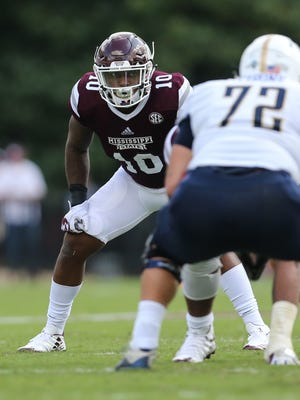 Mississippi State's Leo Lewis (10) denied Rebel Rags' allegations in court filings in July.
