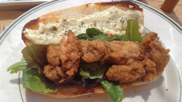 Oyster po'boy at Hangover Easy in Corryville
