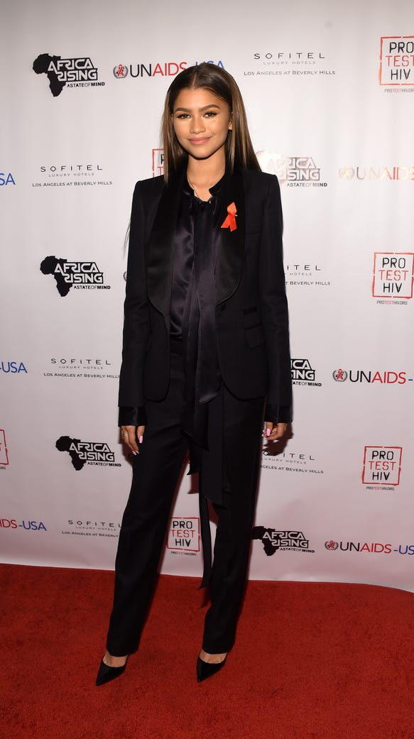 Zendaya arrives at the Inaugural World AIDS Day Benefit.