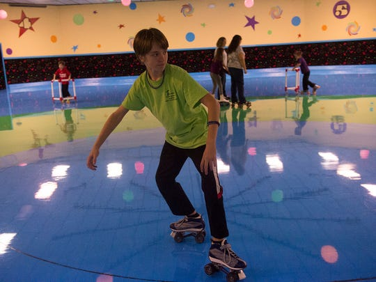 Logan Cross, 12, of Hanover tries out a move during the 42nd anniversary of Magic Elm Skateland.