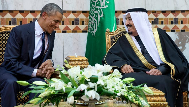 President Barack Obama meets new Saudi Arabian King Salman bin Abdul Aziz in Riyadh, Saudi Arabia, on Tuesday, Jan. 27, 2015.