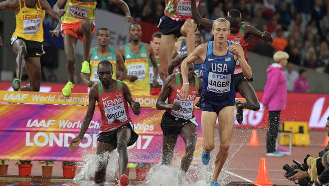 The U.S.'s Evan Jager places third in the steeplechaseduring the IAAF World Championships in Athletics at London Stadium at Queen Elizabeth Park.