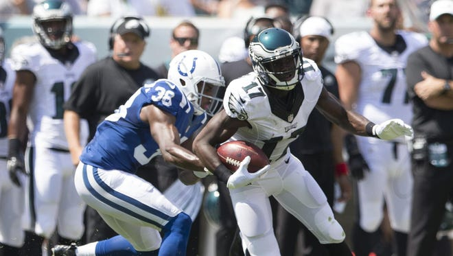 Eagles rookie Nelson Agholor, shown during a preseason game against Indianapolis, missed his third straight game  with an ankle injury Sunday night.