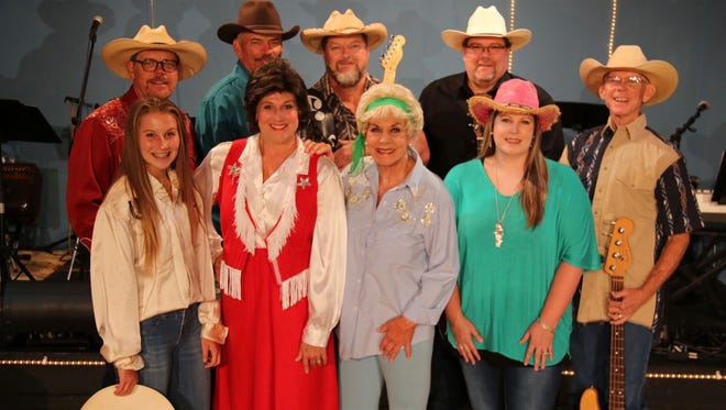 The cast of Always ... Patsy Cline is comprised of: (first row, from left)Cate Jackson, Lee Anne Jackson, Darcy Sherrod, Susi Vangilder, (second row)Jayme Patterson, Steve Cole, Curt Dixon,Mark Kapshandy and Tony Chastain.