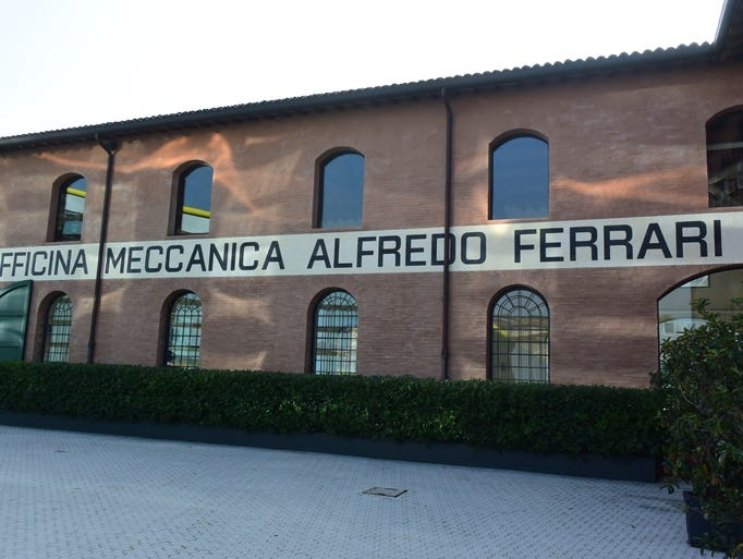 Arriving at the Enzo Ferrari Museum in Modena, Italy.