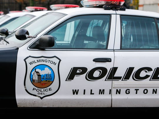 Wilmington police cars at their station on 4th and Walnut Streets.