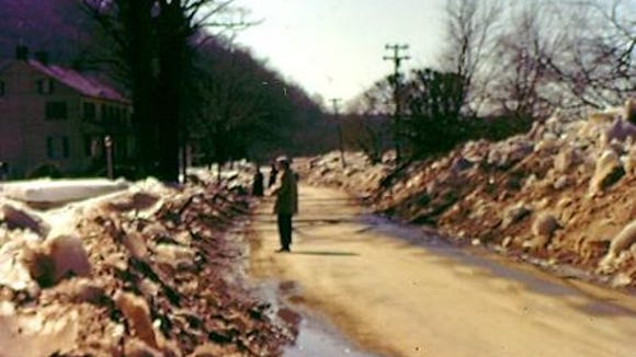 This  is a flood of a different type. A photo from Long Level, Lower Windsor Township, after an ice breakup along the Susquehanna River in 1959.