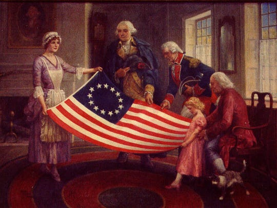 A painting depicts Betsy Ross' first flag.