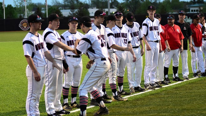 The Oak Hills Highlanders are introduced in pregame during the Reds Futures Showcase April 19, 2017. Oak Hills won the contest over Middletown 2-1 at Prasco Park.