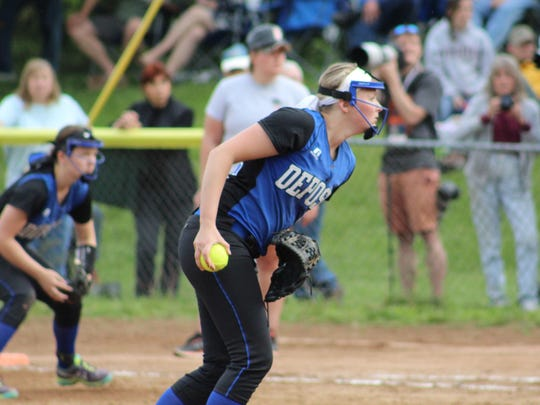 Deposit pitcher Makenzie Stiles zeroes in on the strike zone during Saturday's Class D sectional final.