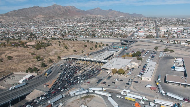 Pictured is a birds-eye view the El Paso Paso del Norte Port of Entry on Tuesday.
