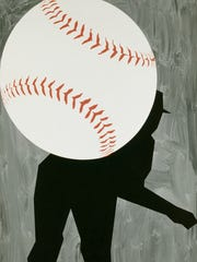 "Pulled from the collection of the Detroit Institute of Arts, the baseball-themed artwork ""Hard Ball III"" by Robert Moskowitz is a large-scale painting he completed in 1993 — and it makes a big impact when first entering the exhibition."