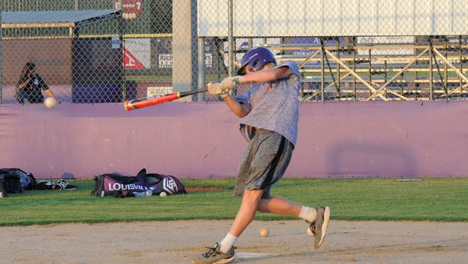 Wylie Junior League All-Star Balin Valentine gets swings in during Wednesday's practice. Wylie will open the 2017 Junior League World Series at 4 p.m. Sunday against the West.