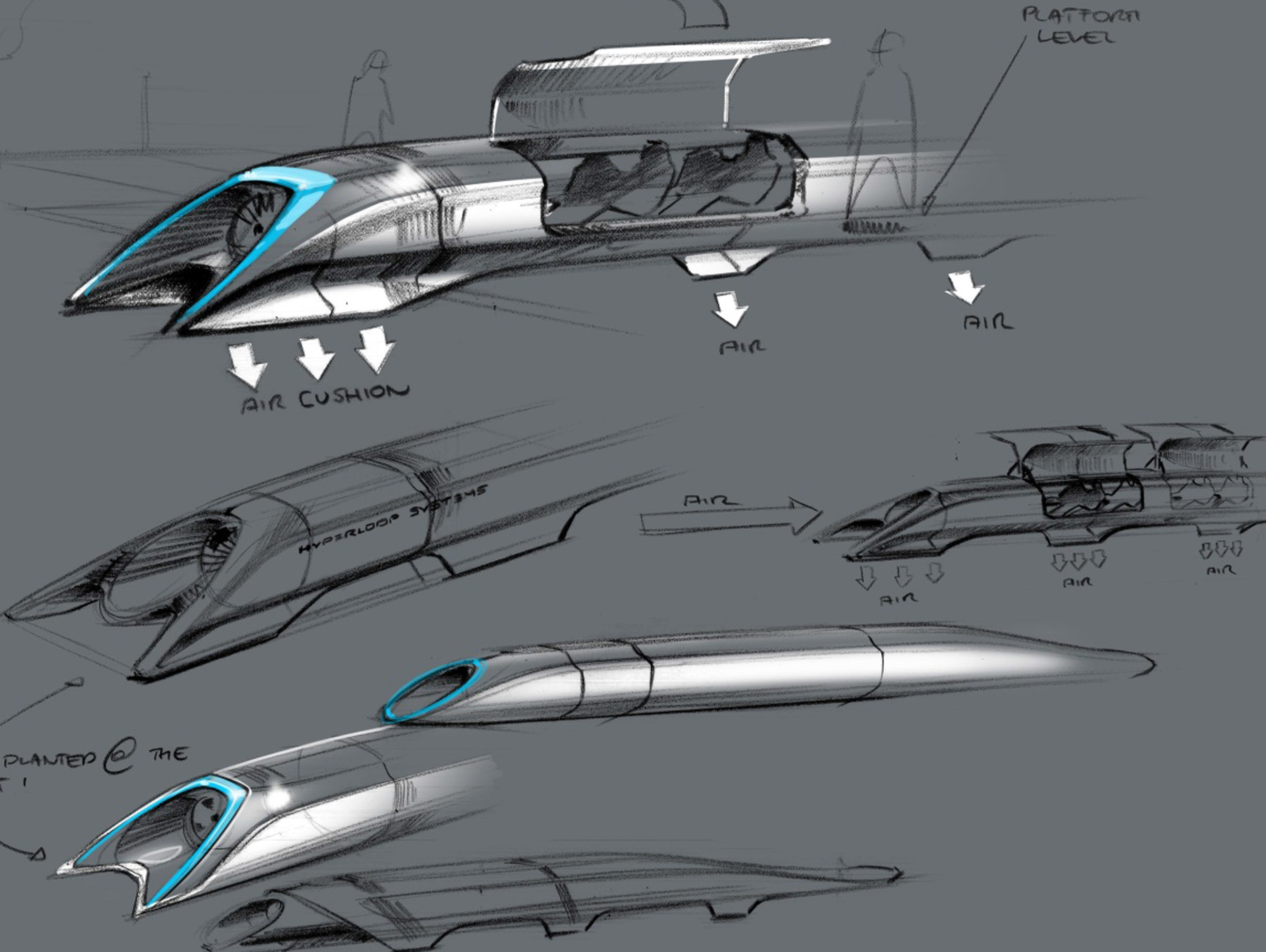 This handout photo released by Tesla Motors on Aug. 12, 2013, shows the concept drawing of the Hyperloop, a fast transport design unveiled by Elon Musk.