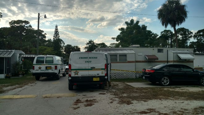 Lee County Sheriff's deputies were investigating a body discovered Friday at Jones Mobile Home Park in North Fort Myers. The home where the body is found is on the right.
