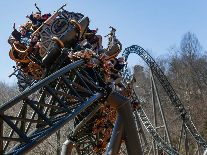 The first rides on Silver Dollar City's new rollercoaster