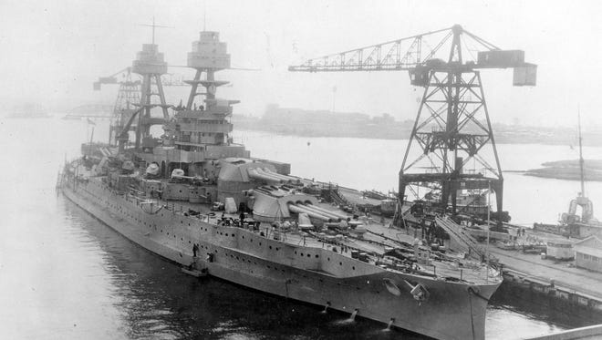 The USS Arizona in 1931 after completing a modernization program at the US Navy Yard in Portsmith, Virginia. The USS Arizona was sunk in 1941 at Pearl Harbor.