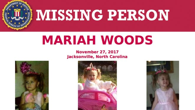 This image released by the FBI shows the seeking information poster for Mariah Woods. Local, state and federal law enforcement agencies are combining efforts to find the 3-year-old North Carolina girl missing from her home.