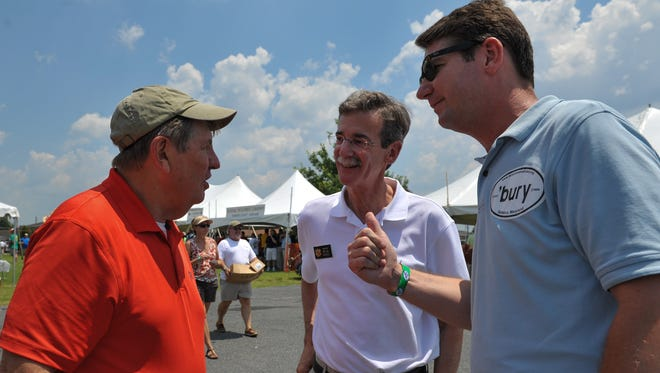 From left, then-Crisfield Mayor P.J. Purnell, then-Sen. and now Attorney General Brian Frosh and Salisbury Mayor Jim Ireton chat during the 37th annual J. Millard Tawes Crab and Clam Bake at Somers Cove Marina in Crisfield.