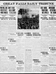 Front page of the Great Falls Daily Tribune on Monday, May 27, 1918.