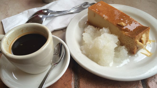 Lusciously creamy flan and a cup of cafe Cubano from Fernandez The Bull in Naples.