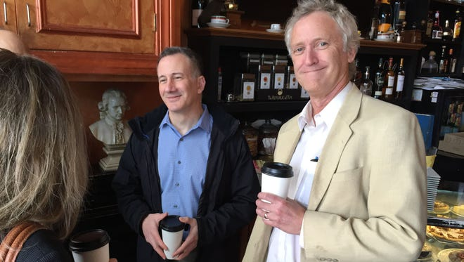 Engagement Editor Gary Stern and Columnist Phil Reisman talk to residents during a lohud/The Journal News coffee chat on March 11 at CafŽ Mozart in Mamaroneck.